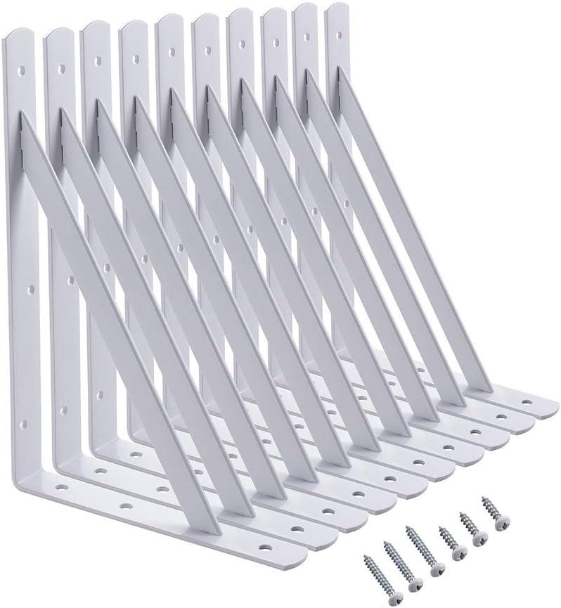 Home Master Hardware 12 inch x 8 inch Heavy Duty Shelf L Brackets Shelf Support Corner Brace Joint Right Angle Bracket White with Screws 10-Pack