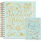 Wedding Planner Set - Large Wedding Organiser and Matching Bride's Notebook - Duck Egg Blue - Perfect Engagement Gift