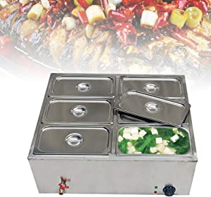WINUS Commercial Electric Food Warmer Steam Table Steamer Bain-Marie Buffet Countertop 6-Pan for Catering and Restaurants US Stock