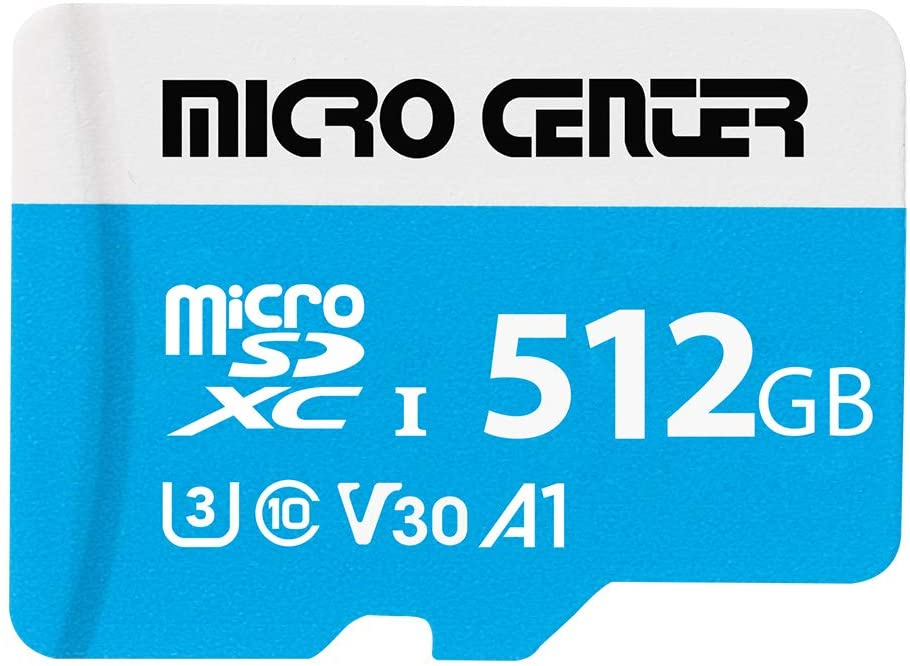 Micro Center Premium 512GB microSDXC Card UHS-I Flash Memory Card C10 U3 V30 4K UHD Video A1 Micro SD Card with Adapter (512GB)