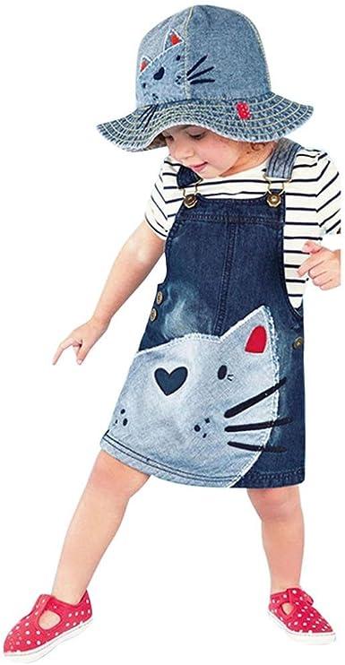 Bebé manga sin hombro princesa vestido correa Denim ropa, Yannerr ...