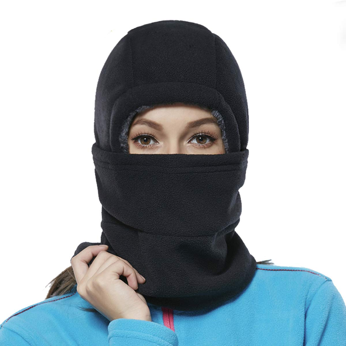 Balaclava Fleece Hood for Women Kids Thick Ski Face Mask Cold Weather Winter Warmer Windproof Adjustable Neck Protective Cycling Running Black
