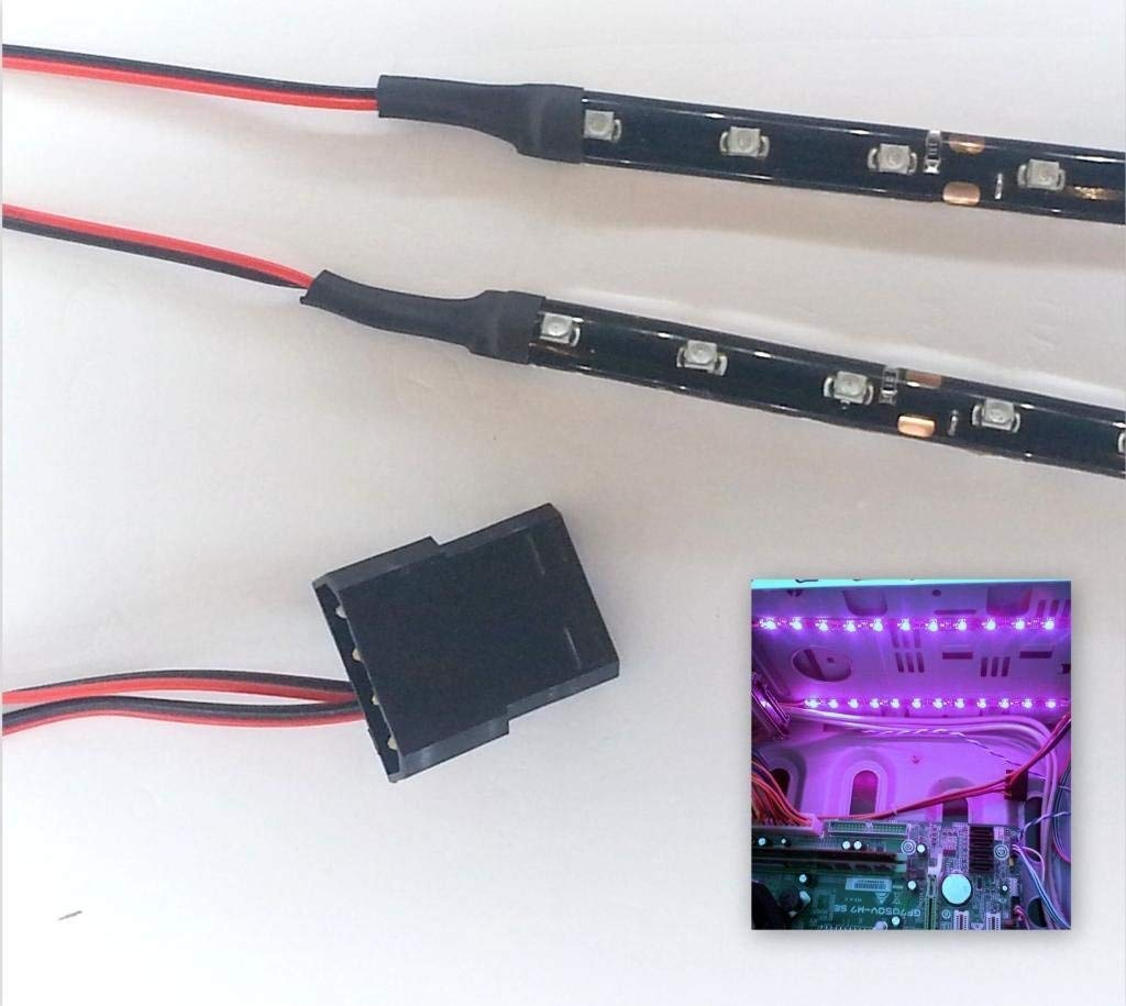 Top LED Kit éclairage pour tunning PC 9 LEDs x 2 Connecteurs Molex 15 cm 60cm Bleu - bleu clair TLSPC1560BL
