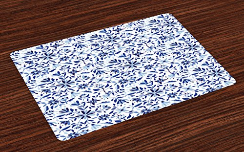 Ambesonne Indigo Place Mats Set of 4, Asian Modern Minimalist Spring Time Flowers Swirls Leaves Image, Washable Fabric Placemats for Dining Room Kitchen Table Decor, Pale Blue Navy Blue and White (Asian Placemat Set)