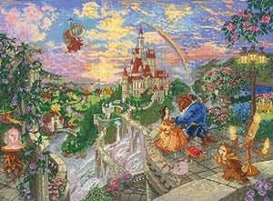 MCG Textiles Disney Dreams Collection by Thomas Kinkade Beauty and The Beast - Patrón para punto de cruz, diseño de La Bella y la Bestia, multicolor