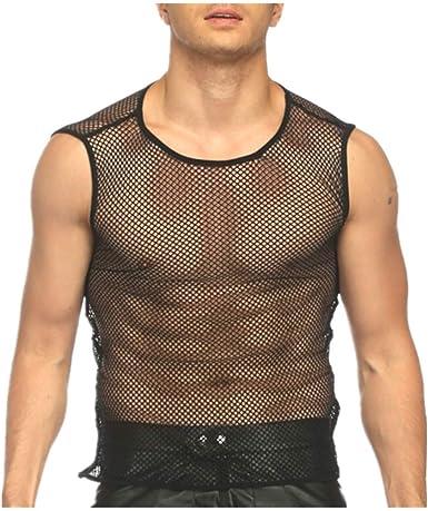 Chickwin Camiseta de Malla Transparente Hombre Chaleco ...