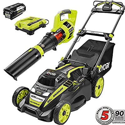 Ryobi 20 in. 40-Volt Cordless Lithium-Ion Self-Propelled Mower/Jet Fan Leaf Blower Combo Kit 5.0 Ah Battery/Charger Included