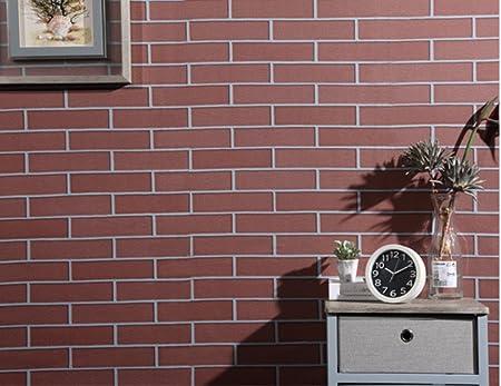 Wanjiamen Shop Papier Peint Impermeable A L Eau Vintage Papier Peint Auto Adhesif Fond Mur Carrelage Papier Peint Mur Creatif Europeen Autocollant 500 60 Cm Rouge Longue Brique Amazon Fr Cuisine Maison