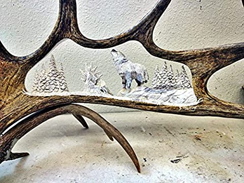 The Solitary Wolf Antler Carving - Antler Carving
