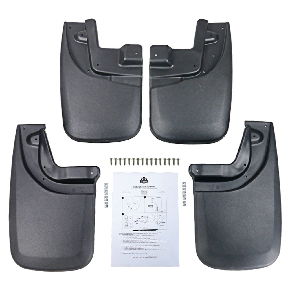 Premium Heavy Duty Mud Flaps Set of 4 - Splash Guard Flaps - Fits Toyota Tacoma with OEM Fender Flares Year 2005, 2006, 2007, 2008, 2009, 2010, 2011, 2012, 2013, 2014, 2015 Rear, Front, Left and Right