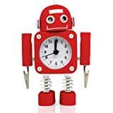 "Betus [Non-ticking] Robot Alarm Clock Stainless Metal - Wake-up Clock with Flashing Eye Lights and Hand Clip - 4.5"" x 6.5"" x 2"" (Ruby Red)"