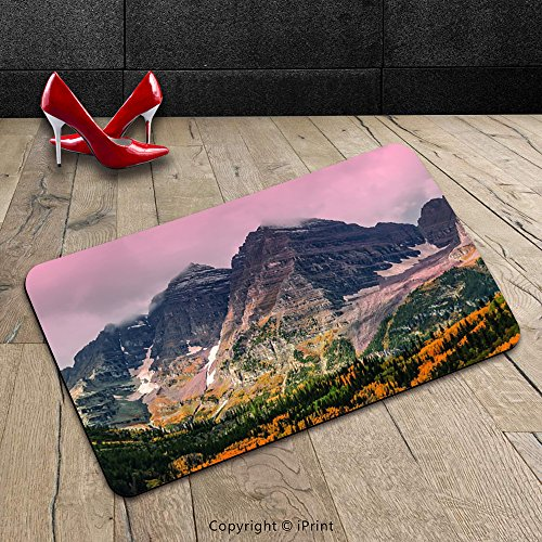 Custom Machine-washable Door Mat Fall Decorations Idyllic Mountain with Snowy Peaks and Hazy Cloudy Sky on the High Valley Decor Multi Indoor/Outdoor Doormat Mat Rug Carpet