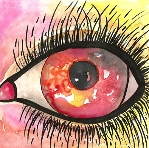 OUTSIDER ART EYE strange weird bizarre original painting red eyes eyelashes psychedelic watercolors paintings best selling items amazon - Outsider Art Original Painting