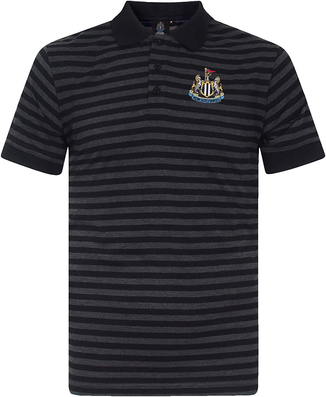 Newcastle United FC Official Soccer Gift Mens Yarn Dye Marl Striped Polo Shirt