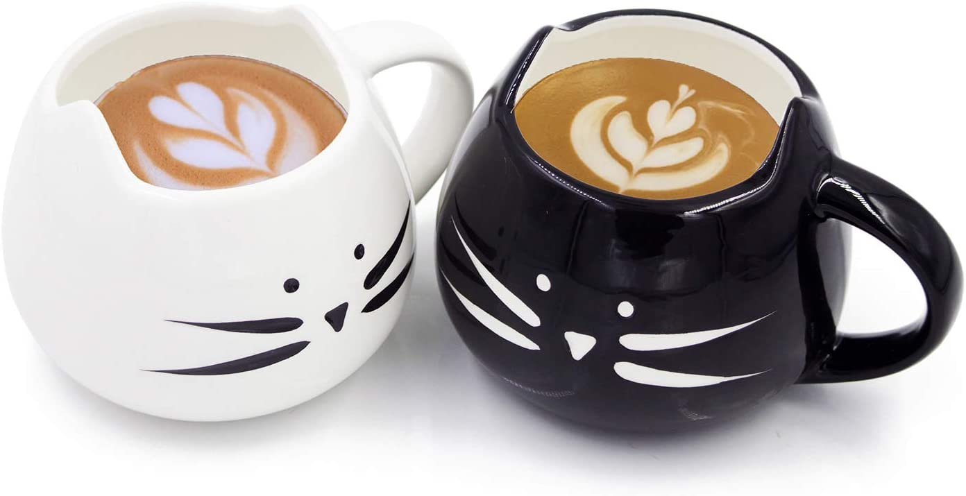Nofinis Cute Cat Coffee Mug Set - Lovely Ceramic Cat Tea Mug Cup Gift Set for Cat Lovers Women and Girls(12 oz, Black & White)