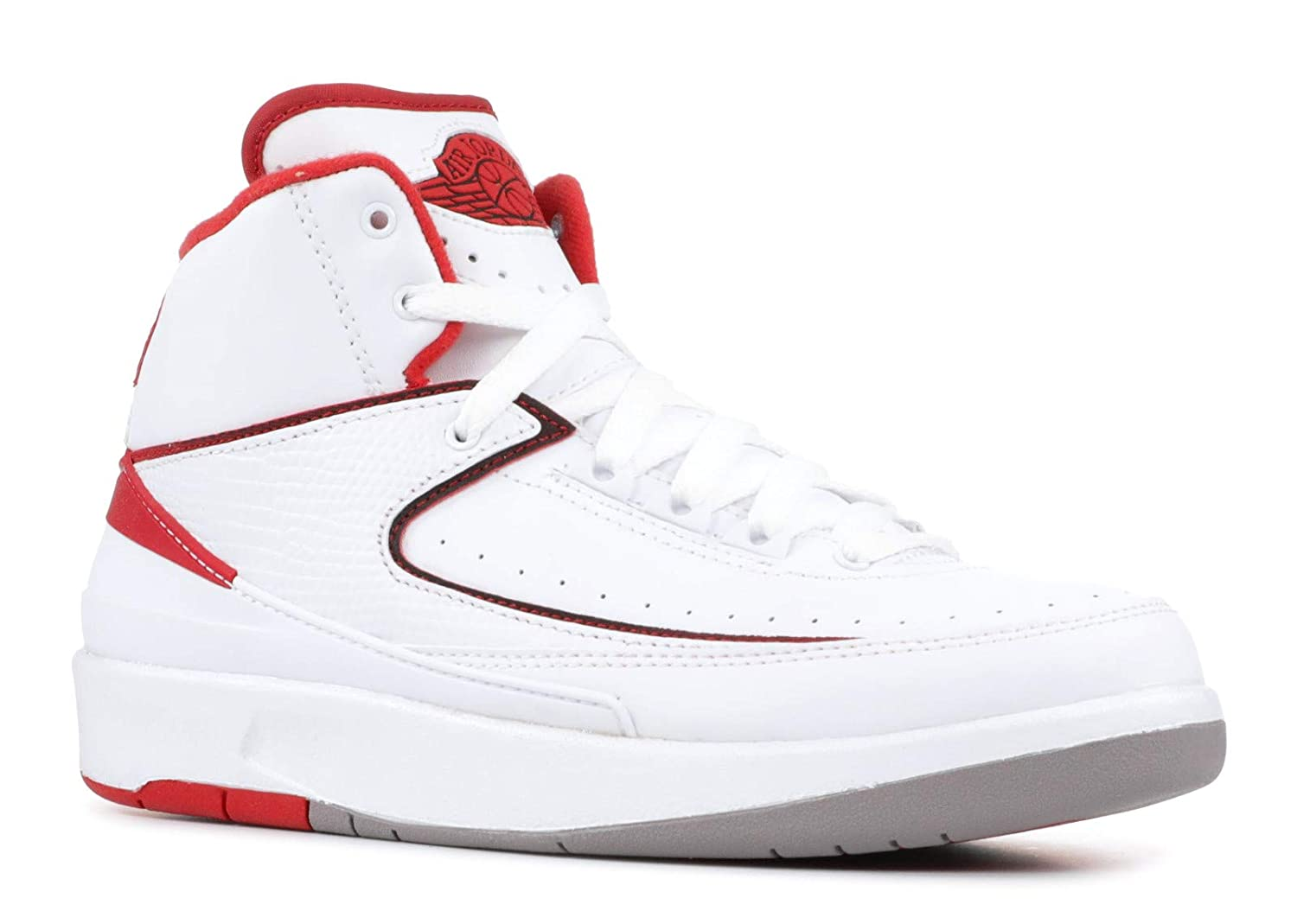 low priced 97e2a 2cc97 NIKE air Jordan 2 Retro BG hi top Trainers 395718 Sneakers Shoes (UK 5 US  5.5Y EU 38, White Black Varsity red Cement Grey 102)