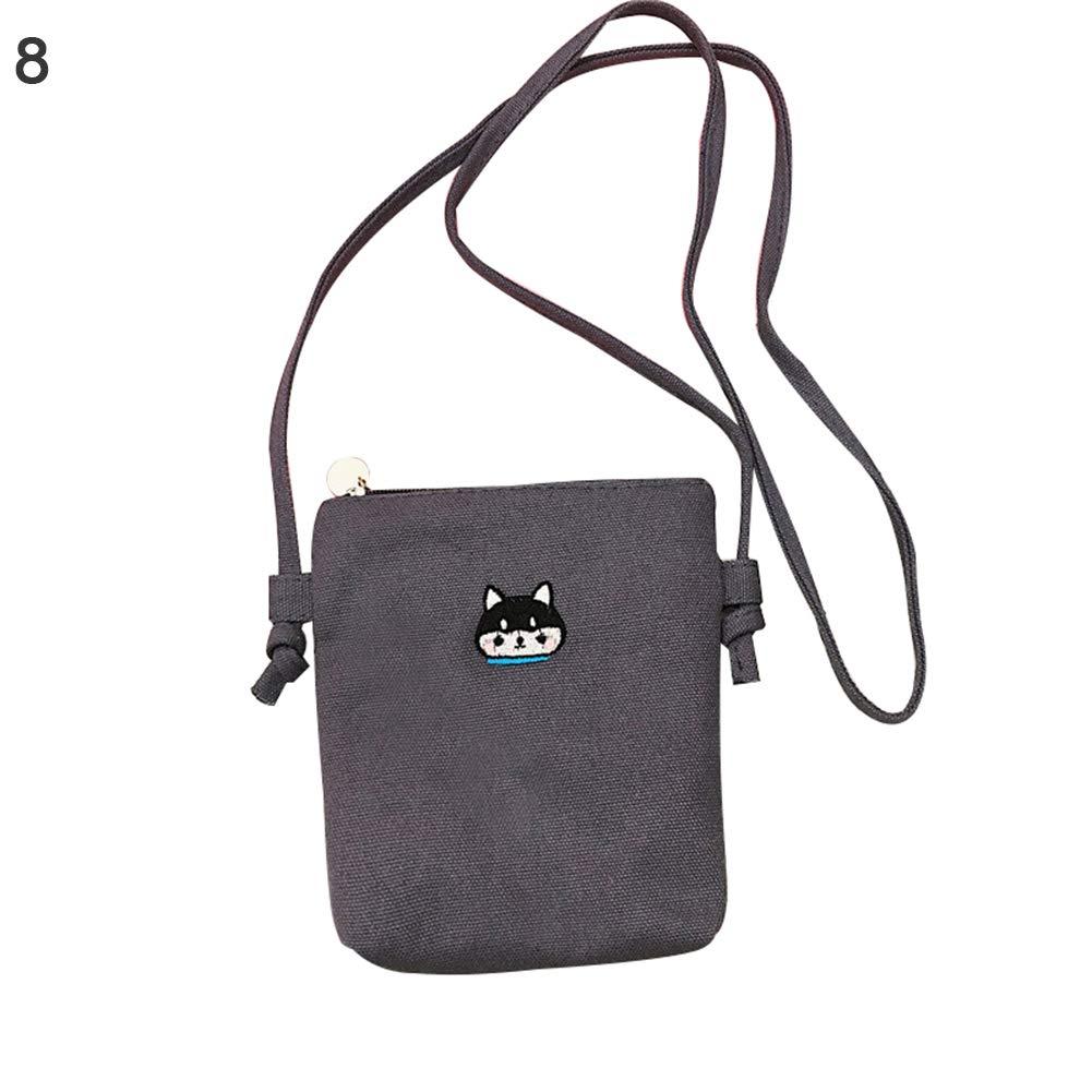 Lx10tqy Women Fashion Canvas Cartoon Mini Lightweight Crossbody Shoulder Messenger Bags Dark Grey