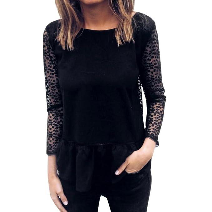 Mujer manga larga encaje hueco algodón empalme Negro camiseta tops ,Yannerr primavera suelta casual suéter