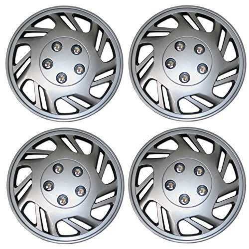 Tuningpros WC3-15-9126-S - Pack of 4 Hubcaps - 15-Inches Style 9126 Snap-On (Pop-On) Type Metallic Silver Wheel Covers Hub-caps