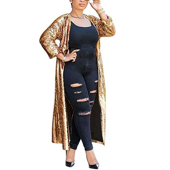 3f608c85 Sexy Long Sleeve Open Front Trench Coat Ladies Party Glitter Kimono ...