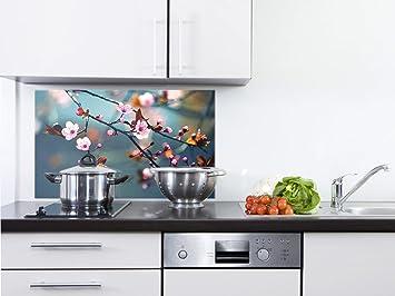 GRAZDesign 200111_80x60_SP Spritzschutz Glas für Küche/Herd | Bild-Motiv  Kirschblüte im Sommer | Küchenrückwand Küchenspiegel Glasrückwand (80x60cm)