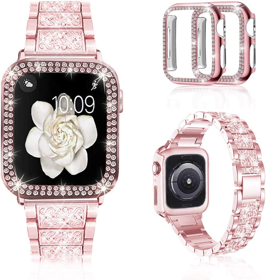 Correa para reloj Apple Watch metálica/diamante, 2 carcasas
