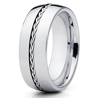 Silly Kings 8mm Silver Braided Braid Tungsten Carbide Wedding Band
