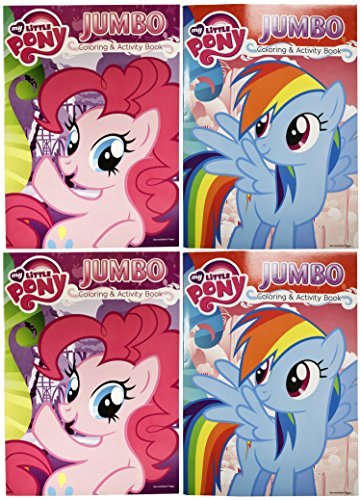 Set of 4 My Little Pony Pinky Pie and Rainbow Dash Jumbo Coloring Books - Tear and Share - 96 Pages - Coloring and Activity Book Perfect for any My Little Pony Fan!