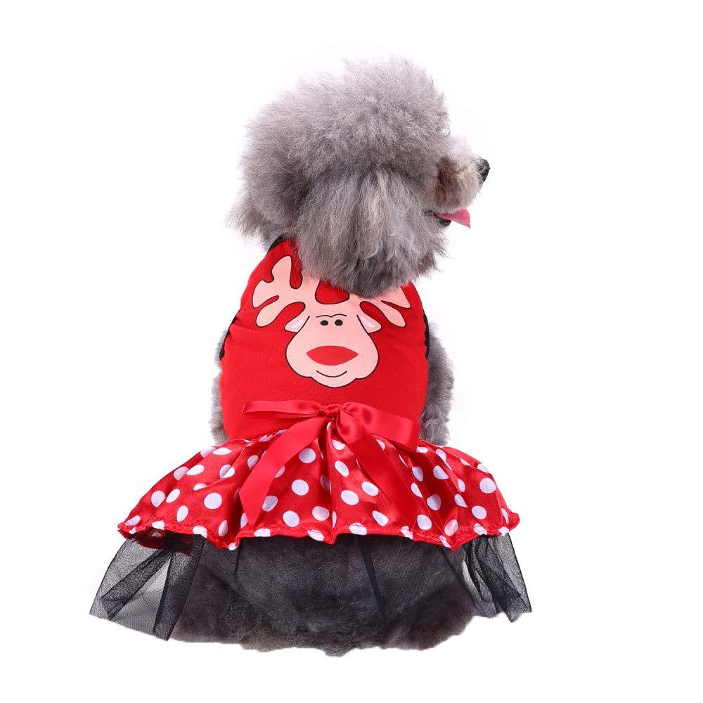 Puppy Dog Cat Fashion Princess Dress Elk Print Bowknots Outfits S,Green Pet Clothes Christmas