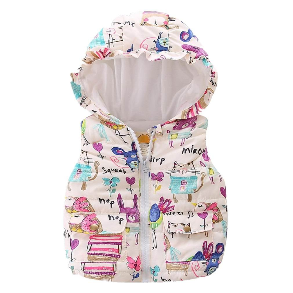 Motecity Girls' Hooded Vest Bird Printing