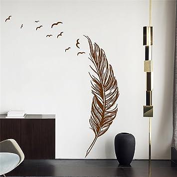 Bã¼Ro Sofa | Norise Wandaufkleber Handgemalte Braune Federn Wohnzimmer