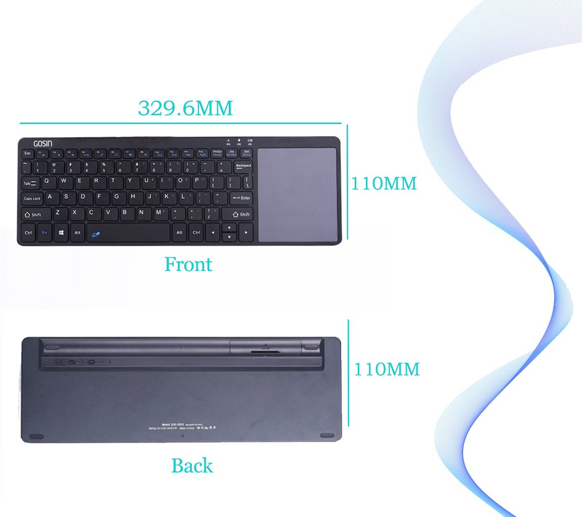 Gosin Wireless Keyboard, Ultrathin All in One Metal Bluetooth Keyboard Touchpad for mobile and tablet with Windows and Android,Touchpad do not work with Smart TV & Home Theater & IOS (Black) by Gosin (Image #4)