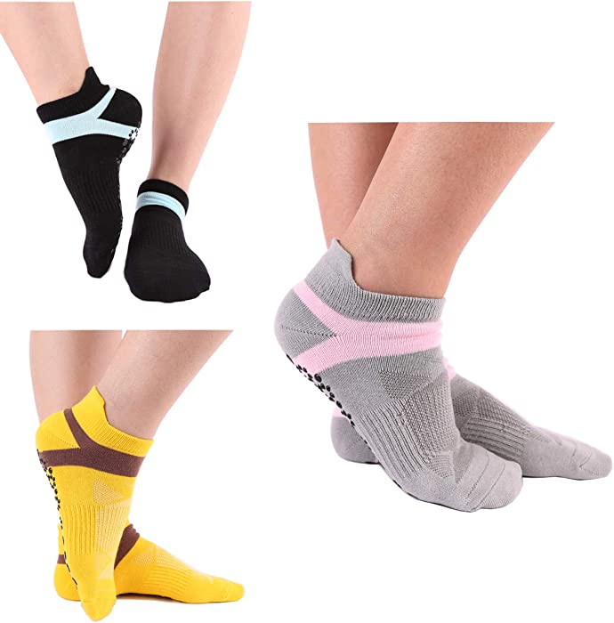 53796f47b Amazon.com  LECIEL Yoga Socks for Women Non Slip Socks for Pilates ...