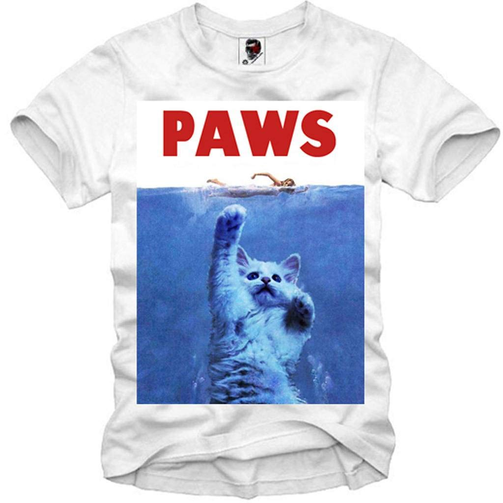 E1SYNDICATE T-SHIRT JAWS PAWS SHARK THE WHITE SHARK GEEK BLOGGER HORROR CAT E1A.1037c.crew