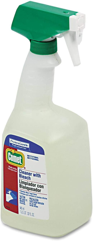 Disinfecting Cleaner w/Bleach, 32 oz., Plastic Spray Bottle, Fresh Scent, 8/CT