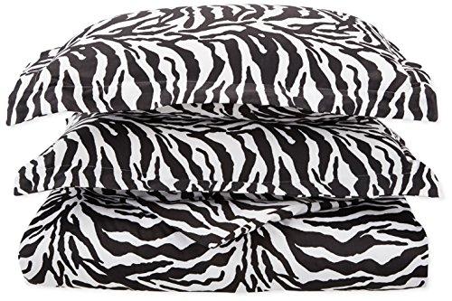 Regal Collection 300-Thread-Count Cotton Zebra Print Full/Queen Duvet Set, Black/White (Thread 300 Zebra)