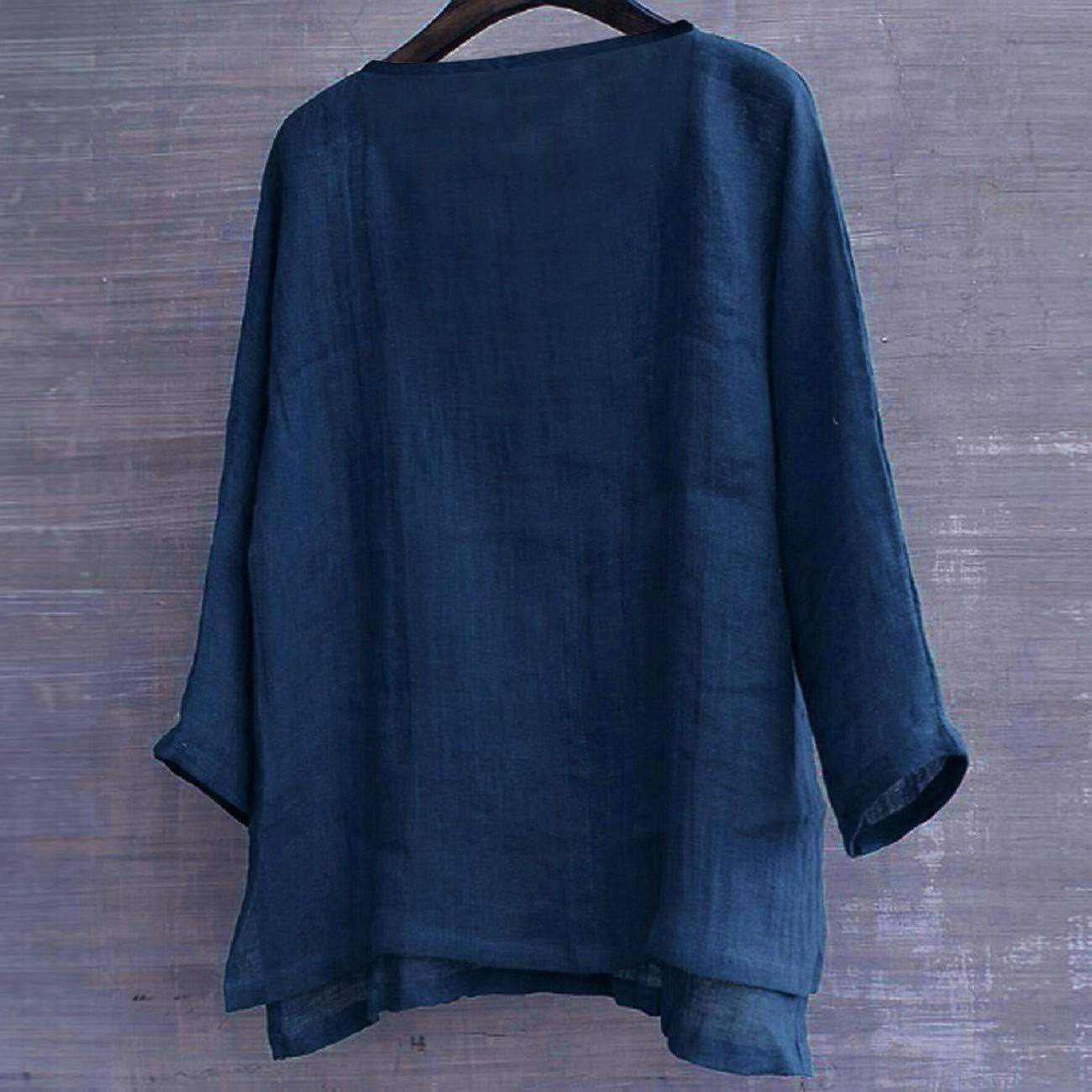 Mens Brief Breathable Comfy Solid Color Long Sleeve Loose Casual T Shirt Blouse FAPIZI Men Cotton Linen Shirts