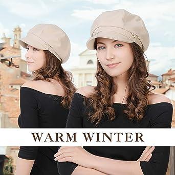 Fancet Winter Newsboy Cap for Women Ladies Conductor Paperboy Visor Flat Gatsby Berets Hat 55-61 cm