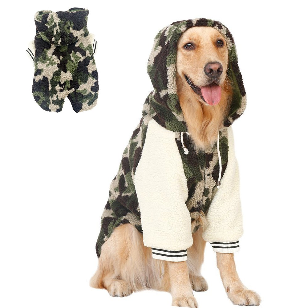 7XL Camo Sleuth Dog Hoodie for Winter, Quilted Dog Coat for Medium and Large Dog, 2 Legs Warm Cotton Pet Clothes Dog Jumpsuit Suits Retriever Husky