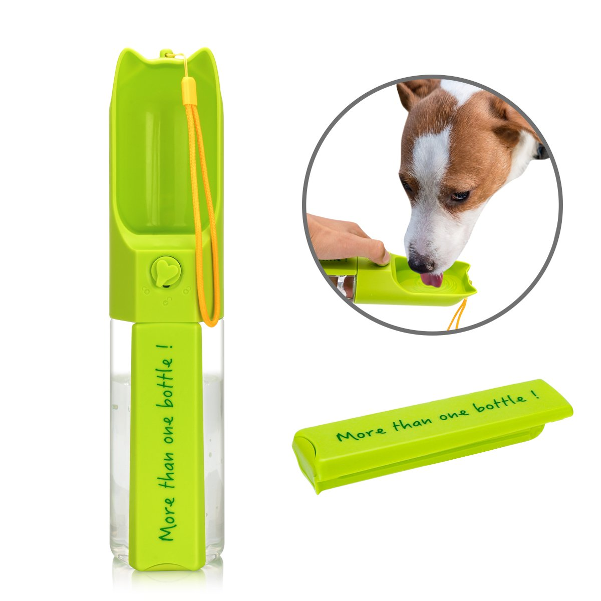 XUANRUS Dog Travel Water Bottle, Portable Pet Water Dispenser Drink Bottle for Daily Walks, Hiking, Camping, Beach, BPA Free Plastic with Pet Food Box