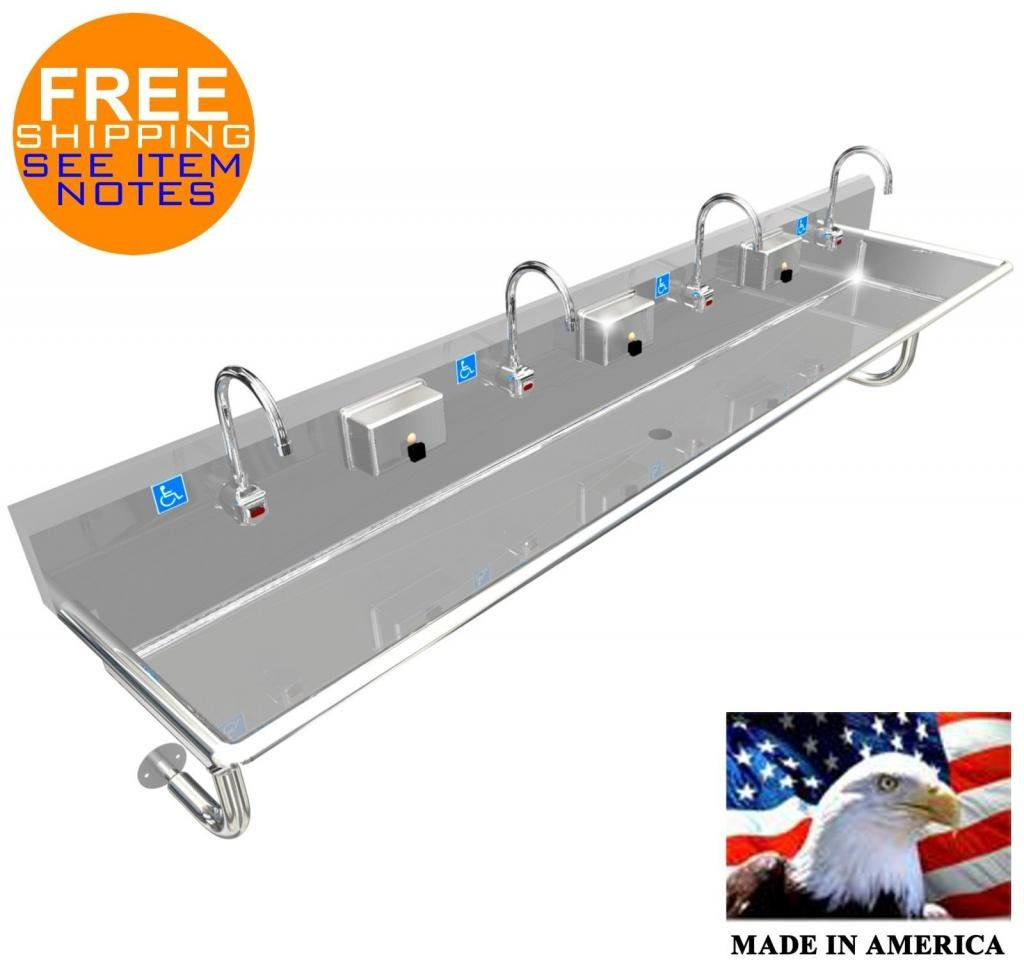ADA 4 PERSON 96'' HAND WASH UP SINK ELECTRONIC FAUCET WALL MOUNT MADE IN AMERICA by BSM