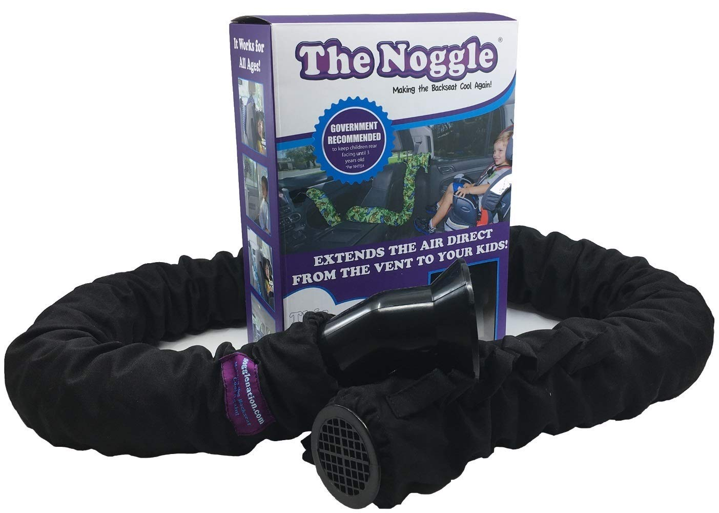 Noggle - Extend Hot and Cold Air from Your Dash AC Vent to Kids in The Back Seat - Summer and Winter Vehicle Baby Traveling System to Keep Children Comfortable in The Car - 6ft, Black Ice