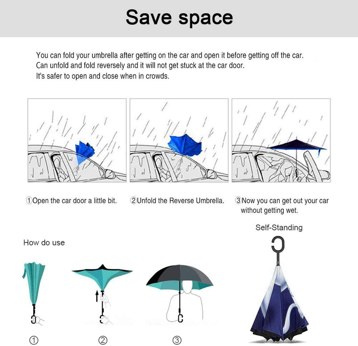 Windproof And Rainproof Double Folding Inverted Umbrella With C-Shaped Handle UV Protection Inverted Folding Umbrellas Casper The Friendly Ghost Car Reverse Umbrella