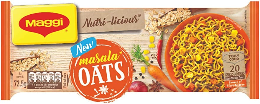 MAGGI NUTRI-Licious Oats Masala Noodles � (Pack of 4) 290g Pouch