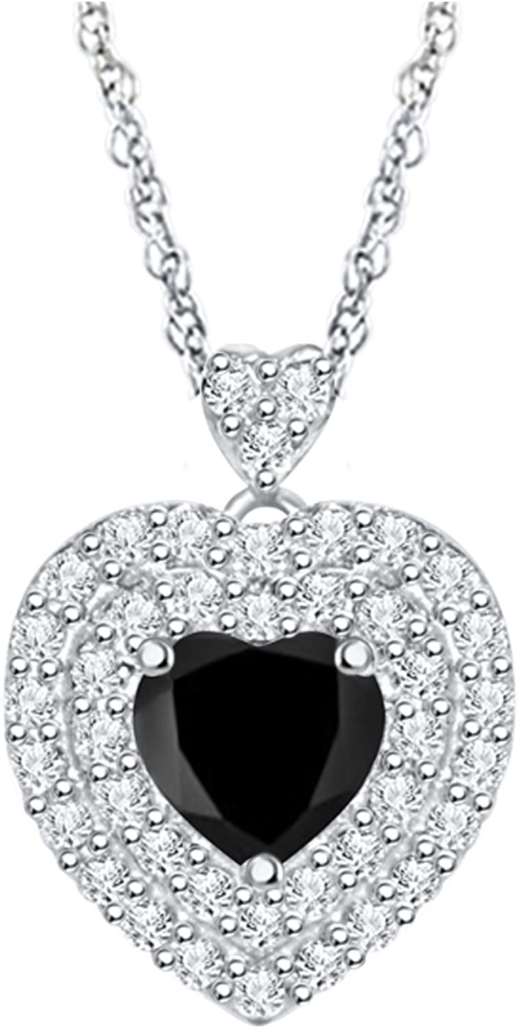 DiscountHouse4you 0.47 Ct Round White Cubic Zirconia Solitaire Pendant Necklace in 14k White Gold Over