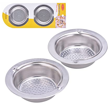 2pcs kitchen sink strainer with handle stainless steel garbage portable strainer basket by hoxha large - Kitchen Sink Strainer Basket