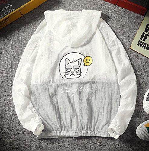 Men Hood Coat Cat Outwear Zip with Sunscreen Howme Pea Summer Grey up 6UfxqqwS