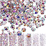 Bememo 3456 Pieces Nail Crystals AB Nail Art Rhinestones Round Beads Flatback Glass Charms Gems Stones, 6 Sizes for...