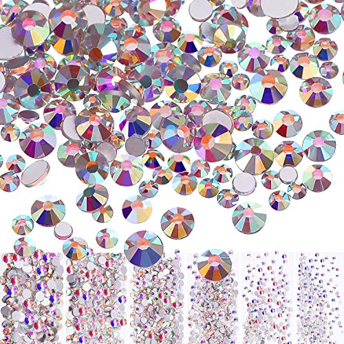 Bememo 3456 Pieces Nail Crystals AB Nail Art Rhinestones Round Beads Flatback Glass Charms Gems Stones, 6 Sizes for Nails Decoration Makeup Clothes Shoes (Crystal AB, Mixed SS4 5 6 -