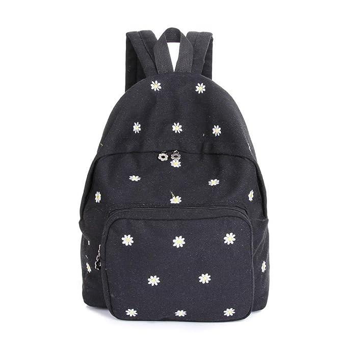 Sagton® Girls Flower Embroidery Backpack Satchel Shoulder Rucksack (Black) 7c8d85ee69dac